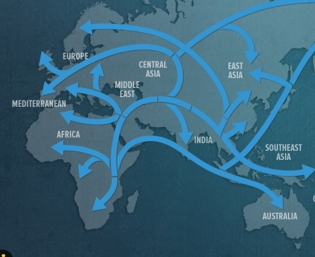 The route out of Africa as documented by genetic data