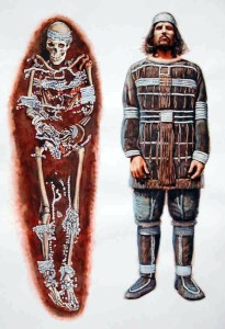 Sunghir is a 22,00 year old site where someone was buried in clothes made from thousands of beads, along with huge mammoth ivory spears