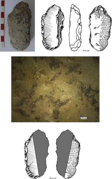Neanderthal tools that were hafted. The shaded section is what was coated in glue
