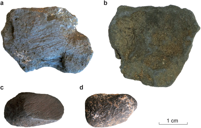 Blocks of manganese recovered from Neanderthal sites