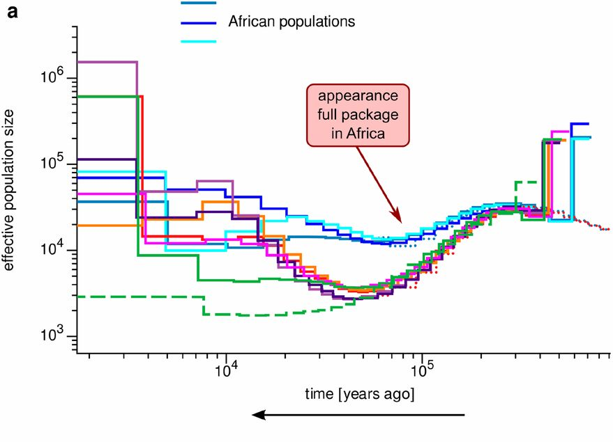 "Population size inferred from different genetic sources (the different coloured lines) versus when ""modern"" technology appeared"