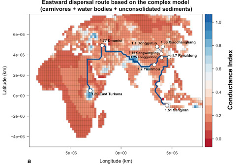 The route Homo erectus took out of Africa and the harshness of the environments. Note how they didn't occupy anywhere tougher than East Africa, where they started